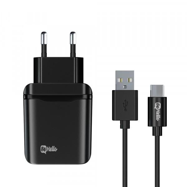 BeHello Travel Quick Charge 3.0 Oplader USB Plus met USB-C Kabel Zwart