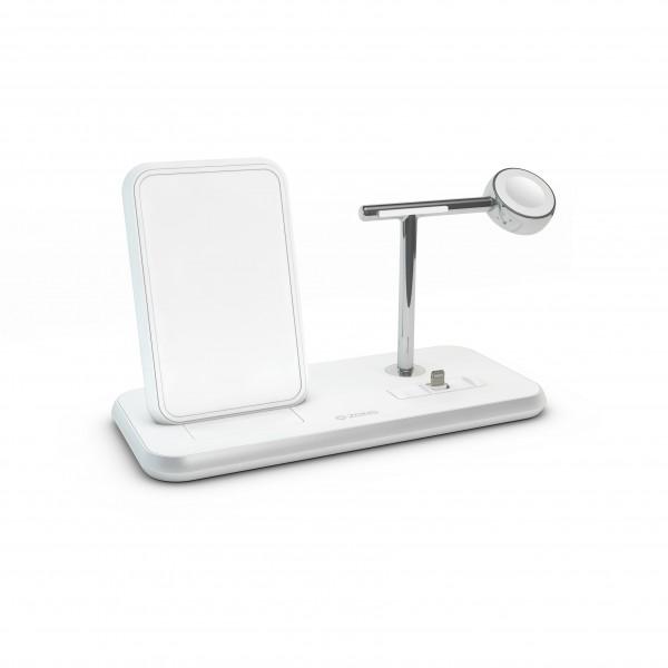 ZENS Wireless Charger Dual + Dock + Watch 10W Aluminium White