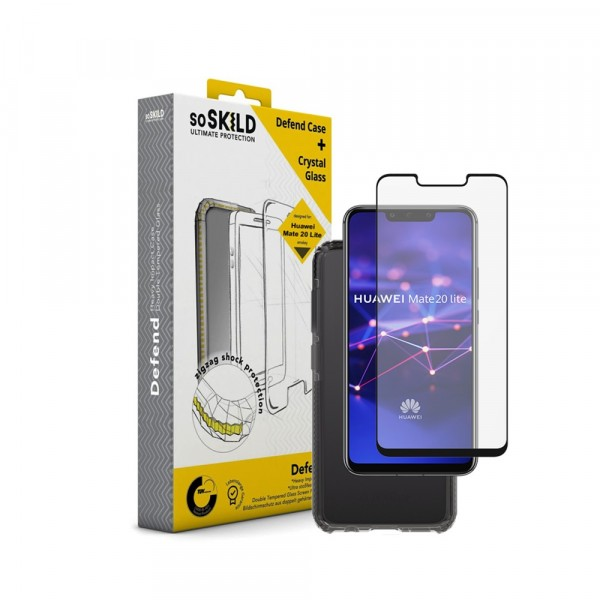 SoSkild Defend Heavy Impact Case Smokey Grey en Tempered Glass voor Huawei Mate 20 Lite