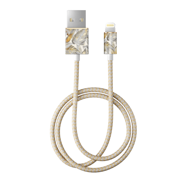 iDeal of Sweden Charge and Sync Lightning Fashion Cable 1m Platinum Leaves