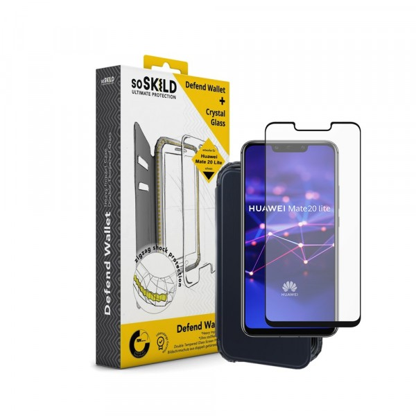 SoSkild Defend Wallet Impact Case Zwart en Tempered Glass voor Huawei Mate 20 Lite