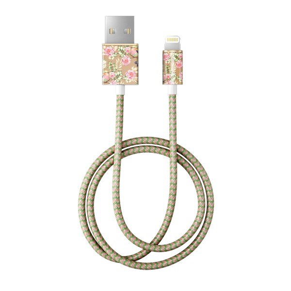 iDeal of Sweden Charge and Sync Lightning Fashion Cable 1m Champagne Birds