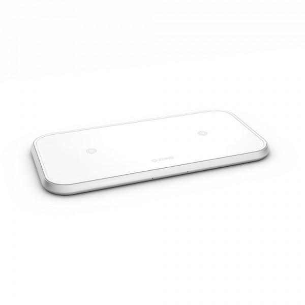 ZENS Wireless Charger Dual 10W Aluminium White