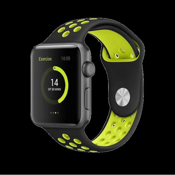 BeHello Premium Apple Watch Bandje 42/44mm - Zwart/Geel