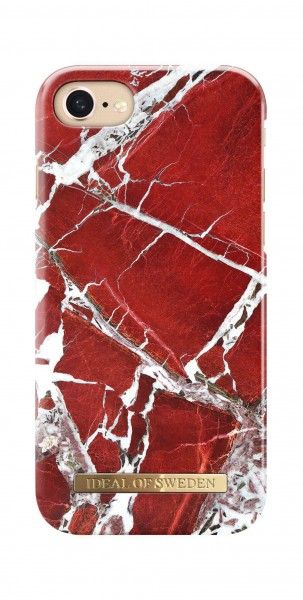 iDeal of Sweden Fashion Back Case Scarlet Red Marble voor iPhone 8 7 6s 6
