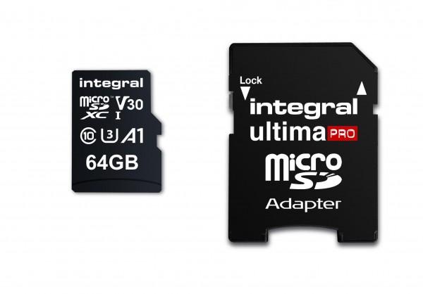 Integral Micro SD Geheugenkaart 64GB Voor smartphone en Tablet V30 Videosnelheid 100MB/s leessnel