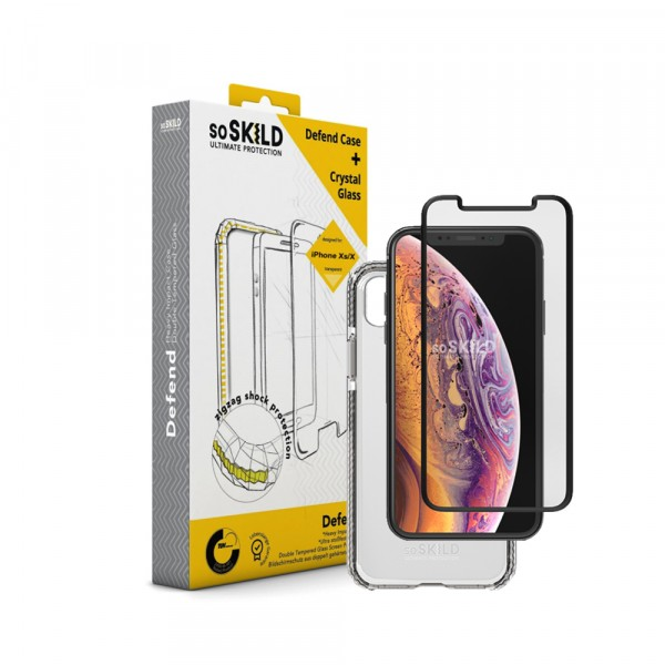 SoSkild Defend Heavy Impact Case Transparant en Tempered Glass voor iPhone X Xs