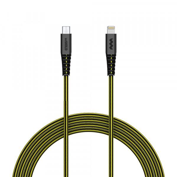 SoSkild iPhone Kabel USB-C naar Lightning - Levensduur van 22 jaar - 1,5 m - Zwart Geel
