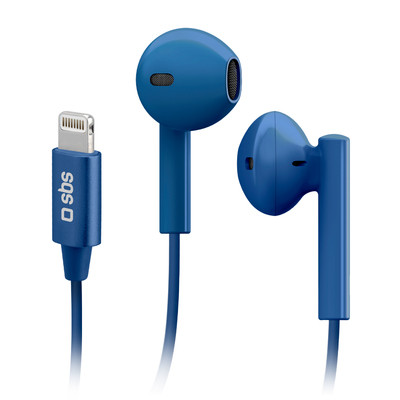 SBS In-Ear Wired Headphones with Lightning Connector Studio Mix 105 Blue
