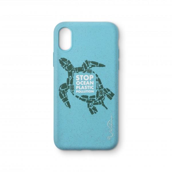 Wilma Smartphone Eco Case Bio Degradeable Stop Ocean Plastic Turtle Light Blue voor iPhone XS / X