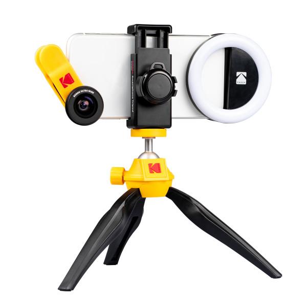 KODAK Smartphone Fotografie Bundel met Statief, Ring Lamp, Macro Lens en Ultra-Wide-Angle Lens