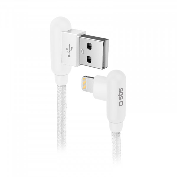 SBS Charging Cable USB-A to Lightning 90degrees 1m White