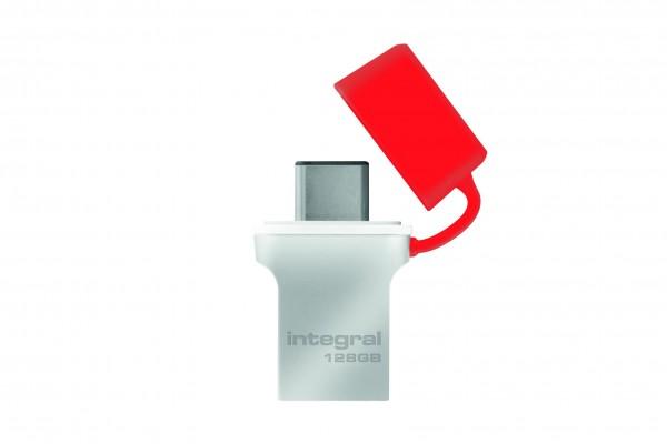 Integral Flash Drive 128GB USB-C & USB-A aansluitingen USB Stick voor Smartphone en Laptop / PC