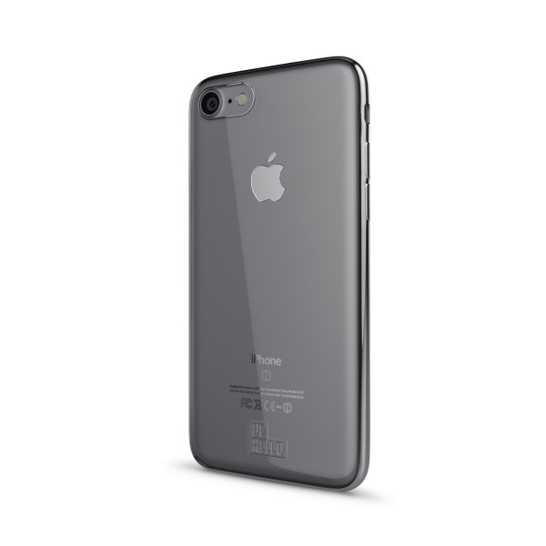 BeHello iPhone 8 7 6s 6 Gel Siliconen Hoesje Transparant met Zilveren Rand