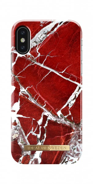 iDeal of Sweden iPhone Xs/X Fashion Back Case Scarlet Red Marble