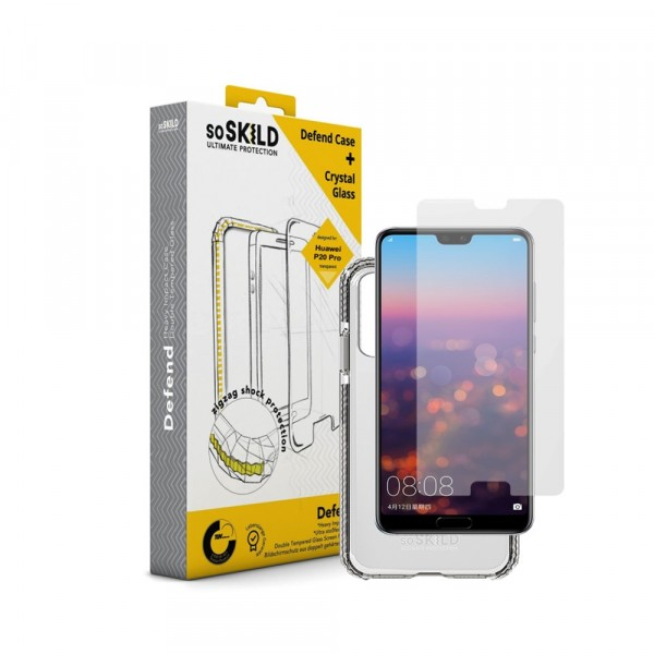 SoSkild Defend Heavy Impact Case Transparant en Tempered Glass voor Huawei P20 Pro