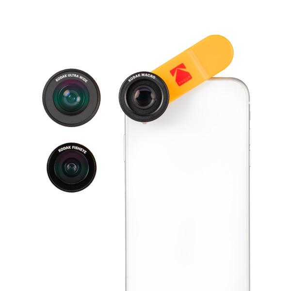 KODAK Smartphone Lens Combo Pack met Ultra Wide Angle Lens, Macro Lens en Fisheye Lens - voor o.a. A