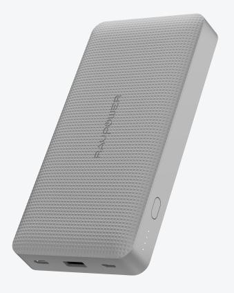 RAVPower Powerbank 20.000 mAh - Grijs Ultra Dun Design - 2 USB-C Poorten - Quick Charge 3.0 - 45W Po