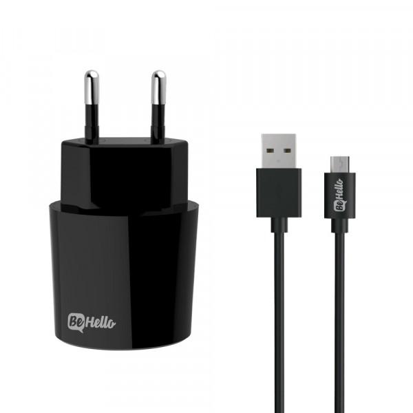 BeHello Travel Oplader USB Plus met Micro USB Kabel 2.1 Ampère Zwart