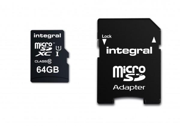 Integral Micro SD Geheugenkaart 64GB Voor smartphone en Tablet 90 MB/s leessnelheid MicroSDHC/SDX