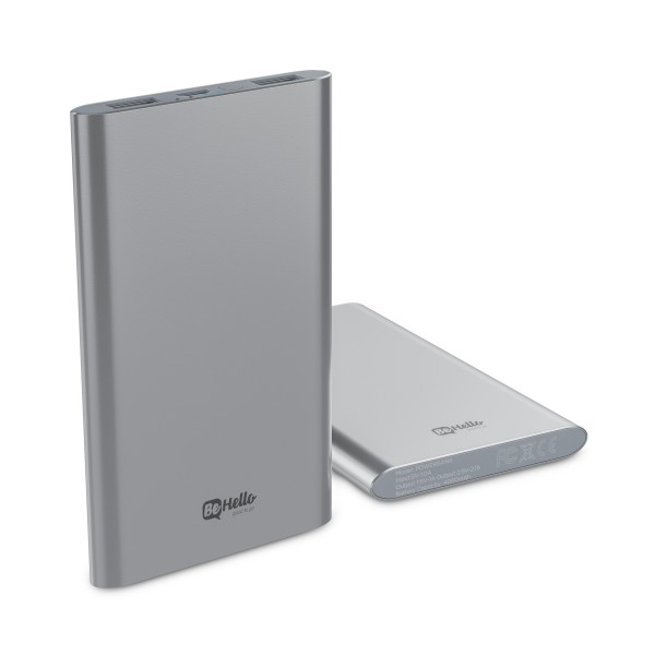 BeHello Powerbank Ultradun 4000 mAh 2 USB Poorten Aluminium Zilver 2.4A