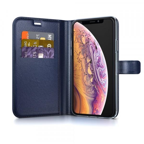 BeHello iPhone X XS Hoesje - Gel Wallet Case Met Ruimte Voor 3 Pasjes Blauw