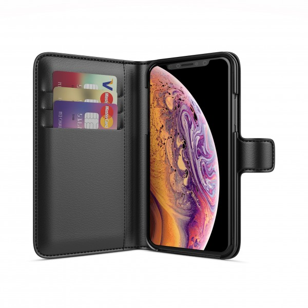 BeHello iPhone X XS Hoesje - Wallet Case Met Ruimte Voor 3 Pasjes Zwart