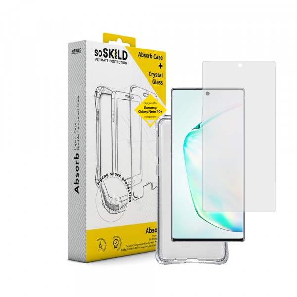 SoSkild Galaxy Note10+ (2019) Absorb 2.0 Impact Case Transparent and Tempered Glass