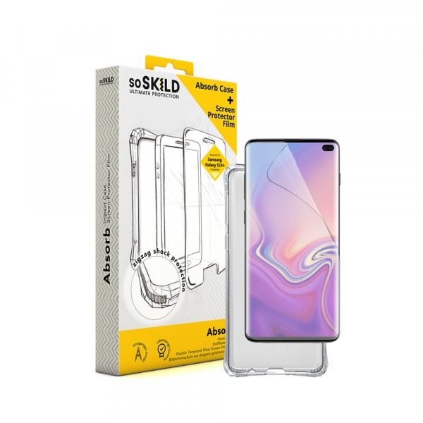 SoSkild Samsung Galaxy S10+ Absorb Impact Case Transparent and TPU Screen Protector