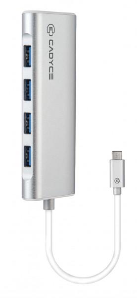 Cadyce USB-C naar 4x USB 3.0 Hub Universeel Overdrachtsnelheid tot wel 5 GB/s Zilver