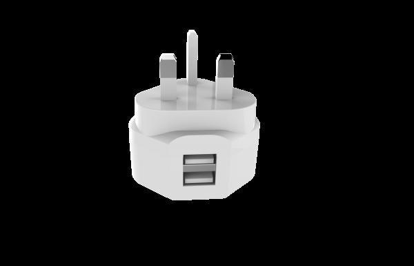 BeHello Oplader met Engelse stekker - 2 USB-A poorten - UK Plug 3.4A Wit