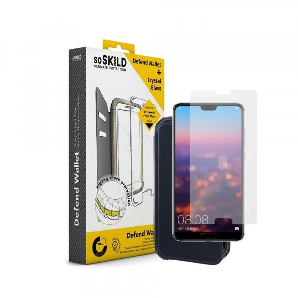 SoSkild Defend Wallet Impact Case Zwart en Tempered Glass voor Huawei P20 Pro