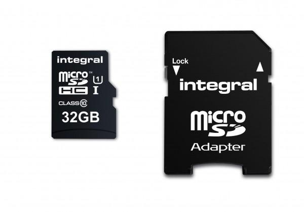 Integral Micro SD Geheugenkaart 32GB Voor smartphone en Tablet 90 MB/s leessnelheid MicroSDHC/SDX