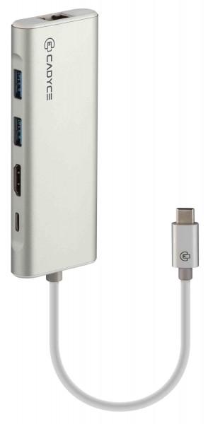 Cadyce USB-C Docking USB-C / Gigabit Ethernet / HDMI 4K / USB-C Adapter Female Space Gray