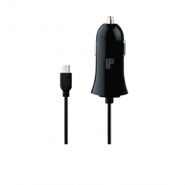 BeHello Car Charger with Cable Micro USB (1.2m) 1A Black