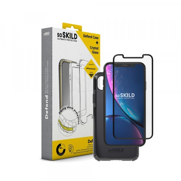 SoSkild Defend Heavy Impact Case Smokey Grey en Tempered Glass voor iPhone Xr