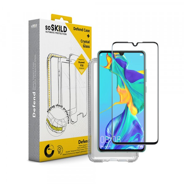 SoSkild Huawei P30 Defend Heavy Impact Case Transparant & Tempered Glass Screenprotector