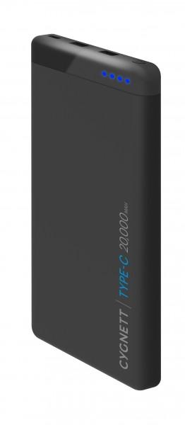 Cygnett Powerbank ChargeUp Pro 20.000 mAh USB-C en USB 2.0 aansluitingen Incl. USB-C-Kabel Tot 10x