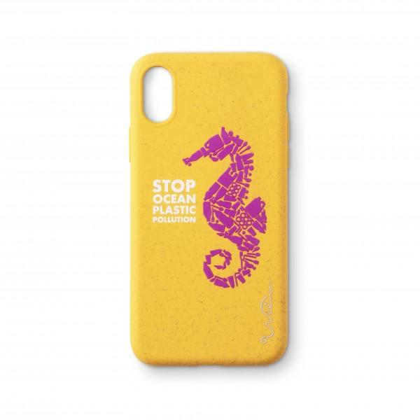Wilma Smartphone Eco Case Bio Degradeable Stop Ocean Plastic Seahorse Yellow voor iPhone Xr
