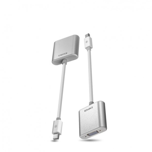 Cadyce Mini DisplayPort to VGA Adapter Full HD Beeldkwaliteit Audio Support Plug & Play Zilver