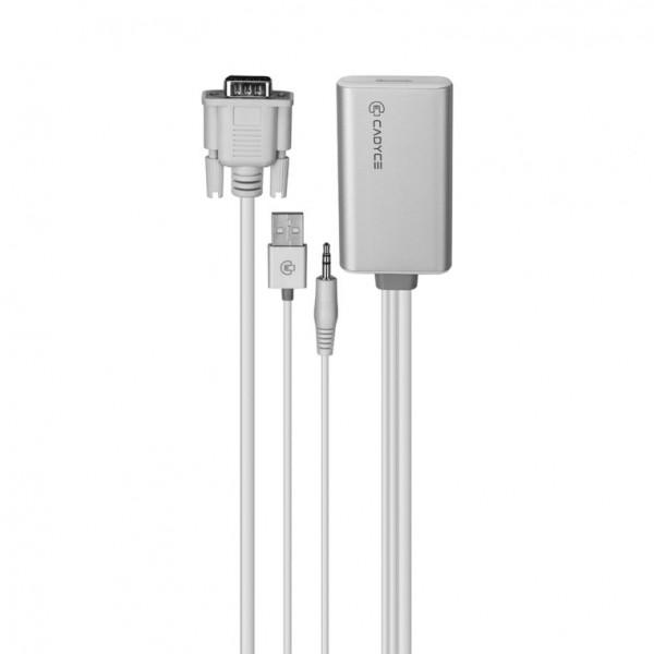 Cadyce VGA naar HDMI Adapter USB Aansluiting Full HD Beeldkwaliteit & Audio Support Zilver