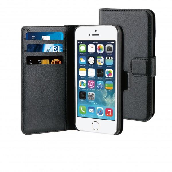 BeHello iPhone 5 / 5S / SE Hoesje - Wallet Case Met Ruimte Voor 3 Pasjes Zwart