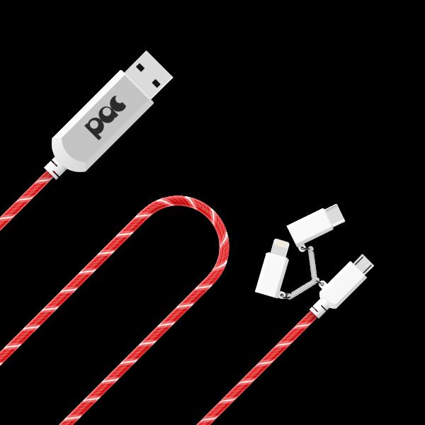PAC Lichtgevende Lightning 3-in-1 Oplaadkabel 1 Meter Rood