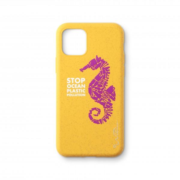 WilmaSmartphone Eco Case Bio Degradeable Stop Ocean Plastic Seahorse Yellow voor iPhone 11