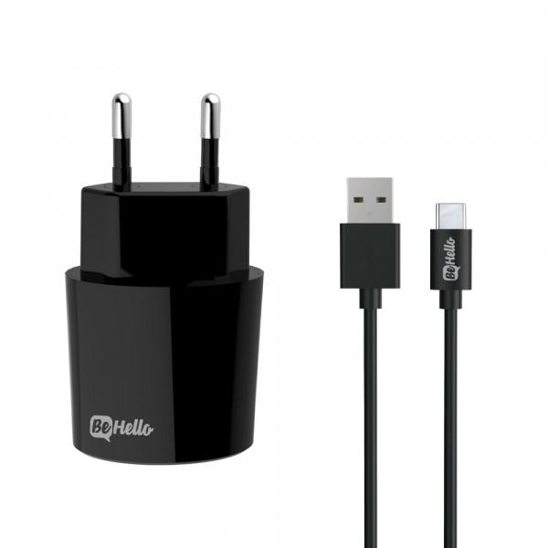 BeHello Oplader met USB-C oplaadkabel 2.1 Ampère Zwart
