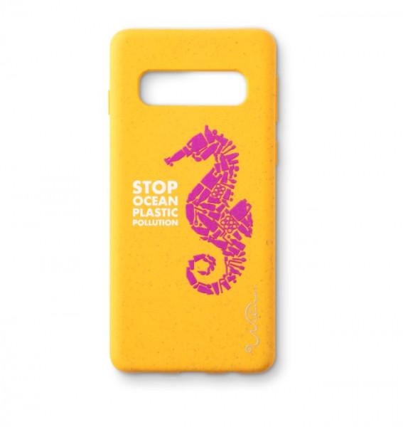 Wilma Smartphone Eco Case Bio Degradeable Stop Ocean Plastic Seahorse Yellow voor Samsung Galaxy S10