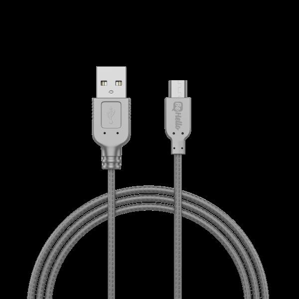 BeHello Oplaadkabel Micro-USB (1m) Gevlochten Nylon - Zilver