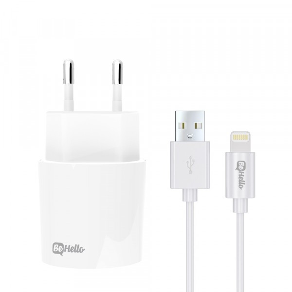 BeHello Oplader met Apple iPhone Lightning Oplaadkabel 2.1 Ampère Wit