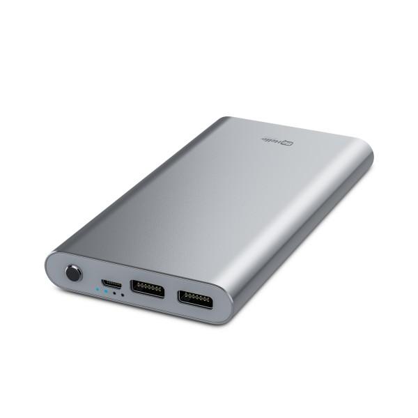 BeHello Powerbank 12000 mAh QC 3.0 2 USB Poorten Snellaadfunctie Aluminium Zilver