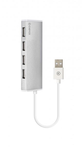 Cadyce USB naar 4x USB 2.0 Hub Zilver